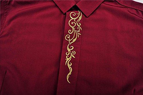 FANZHUAN Hemden Langarm Herren Slim Fit Freizeit Bügelfrei Rot
