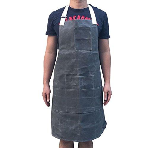 HANSHI Unisex Schwere Arbeitsschürze Gartenschürze aus gewachstem Segeltuch mit wasserdichter Funktion weich und belüftet für Küche Garten Keramik Werkstatt Garage und mehr (HSW-065-G) Grau