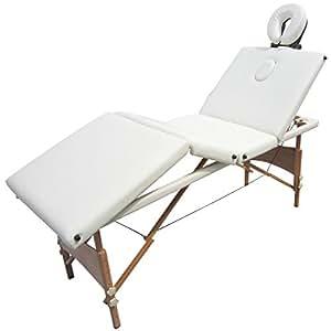 Table de massage reiki pliante pliable portable bois 4 zones blanc crème housse de transport OFFERTE