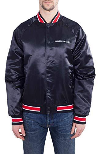 CALVIN KLEIN JEANS Men - Black nylon varsity jacket - Size L Denim Varsity Jacket