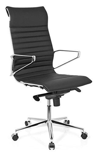 hjh OFFICE 720022 Bürostuhl Chefsessel Pariba I Leder schwarz, hohe Rückenlehne, ergonomischer Bürostuhl, Schreibtischstuhl, feste Armlehnen, echt Leder, Drehstuhl, Chefsessel, gute Einstellmöglichkeiten