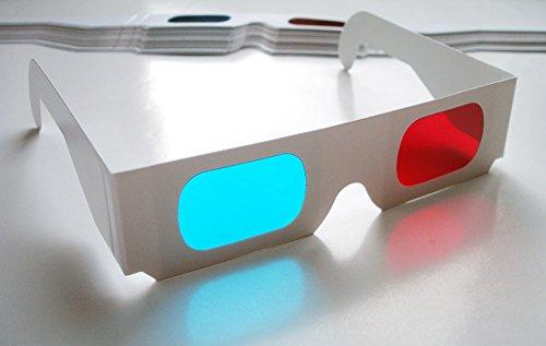 15 Stück hochwertige rot/cyan 3D-Brille (Anaglyphenbrille), weiße Pappe, mit Bügel (15 STK 3-D Brillen)