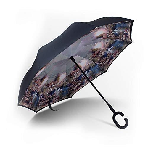 skoy iyue Schirmregenauto, Das Sonnenschirmwerbung-Regenschirmfalten Der Dritten Generation Steht,Pansy -