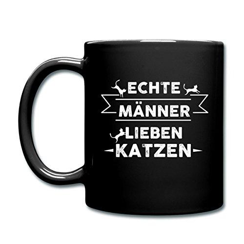 Spreadshirt Echte Männer Lieben Katzen Spruch Tasse einfarbig, Schwarz (Echte Männer Lieben Katzen)