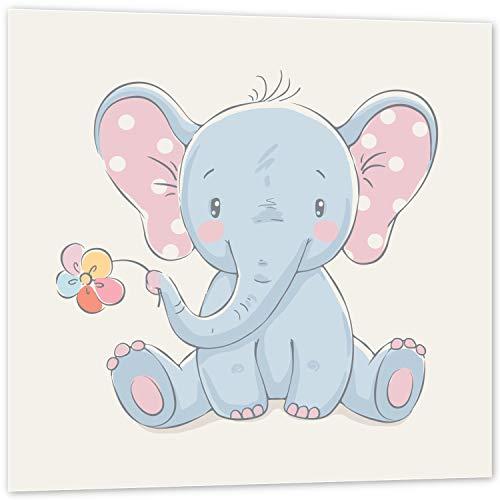Topposter Poster für Kinderzimmer - Elefant mit Blümchen (Poster in Gr. 40x40cm)