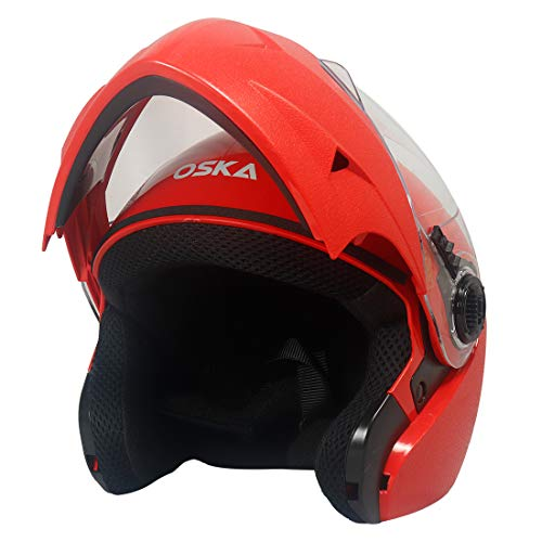 Steelbird SB-41 Oska Classic Flip Up Helmet Full Face Bike Riding Helmets For Man (580MM Medium, Classic Red With Plain Visor - Geared With Flip Up Down Feature -Aerodynamics Design)