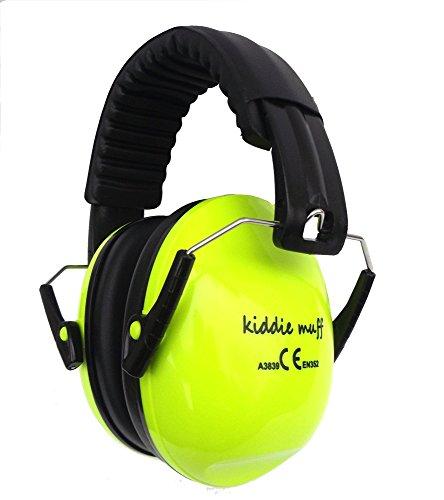 ☊ 2 PAAR Kiddie Muff® Kinder Ohrenschützer Gehörschutz für Kinder und Jugendliche Kapselgehörschutz 26dB Dämmwert in Neongelb ☊ - 2