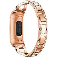 Hunpta@ Uhrenarmband für Fitbit Charge 3 Stilvolle X-Link Metall Armbänder Ersatz Verstellbare Riemen mit Strasssteinen