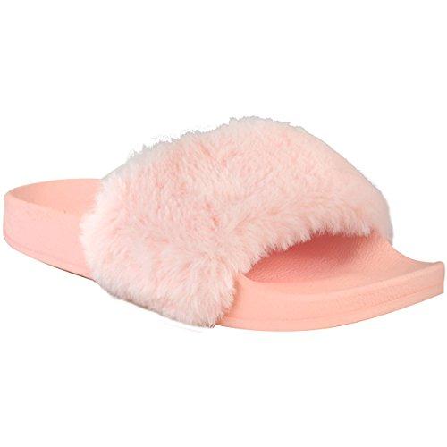 Damen Schlappen mit Kunstfell-Besatz - bequem mit flacher Sohle - Helles Pastellrosa Kunstfell - EUR 38