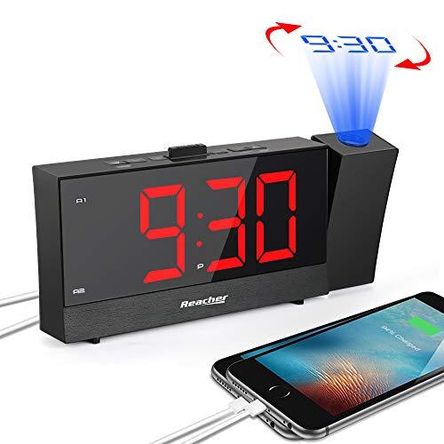 Reacher Despertador Proyector, Reloj Despertador Digital con Atenuador de Brillo de Rango Completo, Snooze, Cargador de teléfono Dual, Alarma Dual, Pantalla LED Grande de dígitos Rojos, Negro