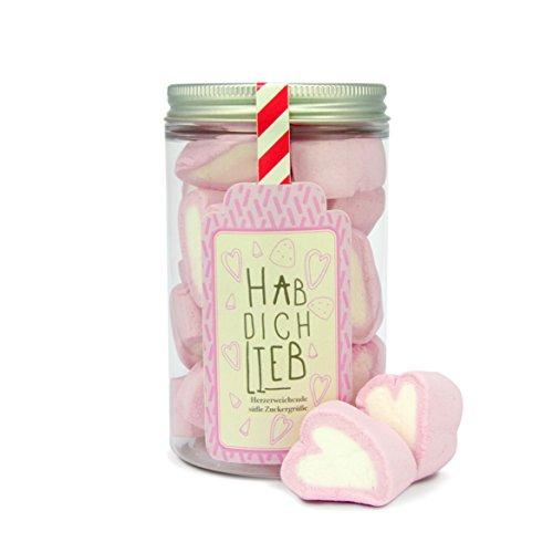 Hab dich lieb, 70g Süßigkeiten-Dose mit Marshmallow-Herzen, süße Herzbotschaft, die von Herzen kommt
