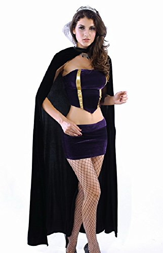 Price comparison product image Women Black & Purple Wicked Queen Vampire Witch Costume Fancy Dress Halloween Hen Night Party Size UK L 8-10 EU 36-38
