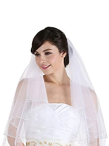 2T 2 Tier 2.5 Wide Crystal Beaded Edge Bridal Wedding Veil - White Cathedral Length 108 by Venus Jewelry