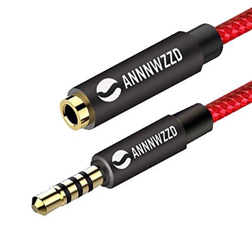 Cable alargador de audio estéreo auxiliar LinkinPerk de 3,5 mm, macho a hembra, cable conector estéreo para teléfonos, auriculares, altavoces, tabletas, ordenadores, reproductores de MP3 y más 3 m