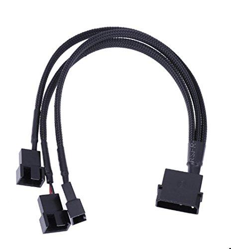 Wokee Molex 4 Pin zu 3 x 3/4-poligen 5v12v Usb Sleeved Dual Fan Netzteil-Kabel 30cm