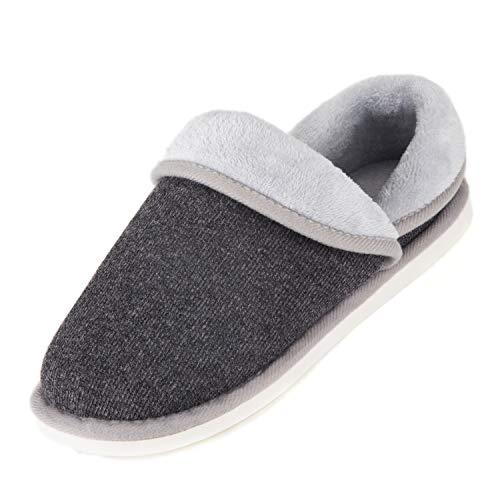 Pastaza pantofole invernali donna uomo ciabatte da casa invernali peluche morbido interno antiscivolo pantofole grigio,42eu=taglia del produttore 42-43