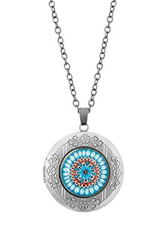 Remi Bijou - Statement Kette mit rundem Anhänger - Foto Medaillon - Kaleidoscope Mandala Buddha Yoga Geometrisch - blau (Silber)