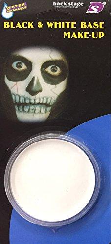 Schwarze oder Weiße Gesichtsfarbe mit Schwamm Halloween Kostüm Parti Bilden (Einheitsgröße, Weiß x 2)