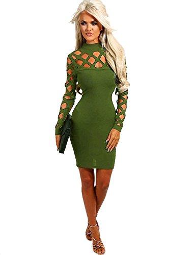 ZEARO Sexy Damen Bodycon Langarmkleid Hollow Out Slim Fit Mini Kleid Armee-Grün