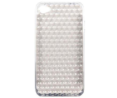 Nuova Custodia Cover in Silicone per iPhone 4 4S con effetto Diamante - Trasparente
