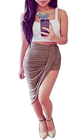 Friendz Trendz -Womens Asymmetric Wrap Drape Ruched Side Split Maxi Jupe (SM, MOCHA)
