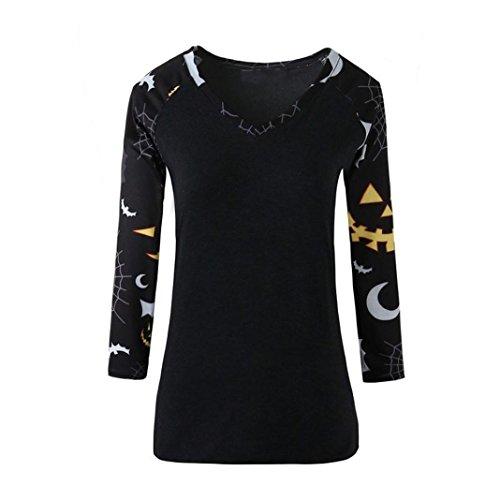 Hirolan Frau Halloween Bluse V-Ausschnitt Gedruckt Beiläufig Tops Hemd (XL, Schwarz) (Punk Star Kostüm)
