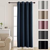 "Deconovo Door Curtain Thermal Insulated Curtain Eyelet Blackout Curtain Single Curtain for Door 52""x 84"" Navy Blue 1 PANEL"