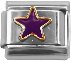 Essence Charms Pendentif italien pour bracelets à charms classiques Motif étoile violette