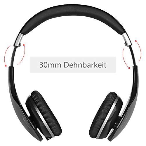 Kingyou Bluetooth Kopfhörer Funk Für Fernseher On Ear Kopfhoerer Kabellos (HD007 Schwarz) - 4