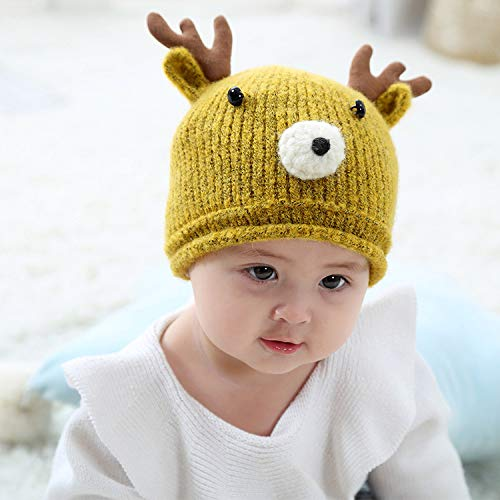 geiqianjiumai New Kinder warme Strickpullover Cap Geweih Säuglings Verdickung warme Mütze gelb 40-46CM