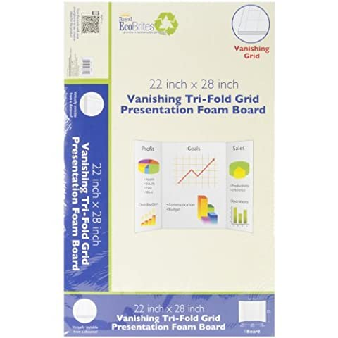 Royal Eco Brites Tri-Fold Foam Board, 22 x 28 Inches, White Grid Lines, (26881), Pack of 5 by Royal