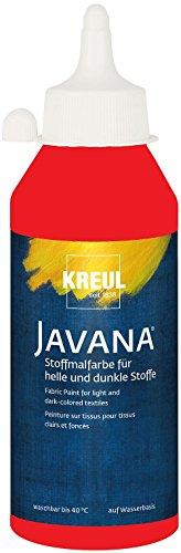 (Kreul 91463 - Javana Stoffmalfarbe für helle und dunkle Stoffe, brillante Farbe mit pastosem Charakter, 250 ml Flasche, rot)