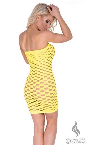 Sexy Minikleid gelb mit Löchern transparent Schlauchkleid Tube Cocktailkleid Dessous Damen Einheitsgröße S M L