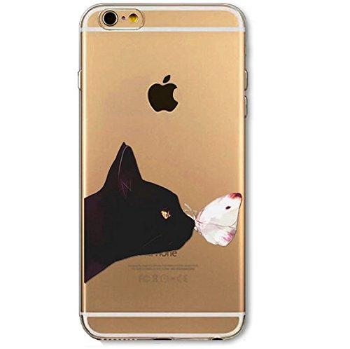 Coque silicone souple iphone 5C ,Grand Chat , cat , animal , noir ,TPU 5C Chat papillon