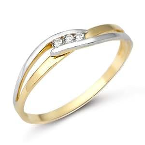 Miore 9ct 2 Colour Gold Ladies' Diamond Twist Ring MA976R- Size L