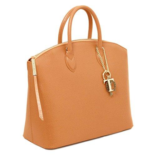 Tuscany Leather TL KeyLuck - Shopper Tasche aus Saffiano Leder Rot Leder Handtaschen Blau