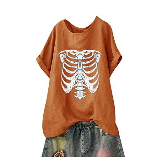 Andouy Damen Mode Lustige Muster Tees Beiläufige Feste Gedruckte Lose Flügelhülsen Gr.40-54 Übergroße T-Shirt Tops(L(44).Orange-Skelett) (Für Kostüme Hunde Teufel)
