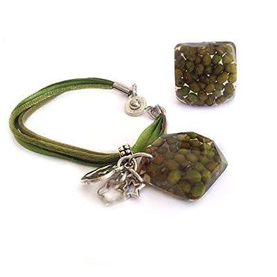 Parure de 2 pièces bague et bracelet avec des haricots mungo encapsulés - bijoux mexicains