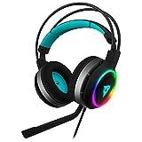 ThunderX3 AH7HEX - Auriculares gaming profesional (RGB, 6 efectos de luz, Led Halo, 7.1 sonido envolvente, controladores 50 mm, micrófono con cancelación de ruido) color negro y cyan