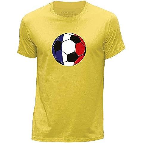 STUFF4 Hombres/XXX Grande (3XL)/Amarillo/Cuello redondo de la camiseta/Bandera del Francia/Fútbol