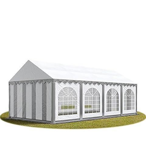 Tonnelle 8 X 4 - Tente de réception 4x8 m en gris-blanc