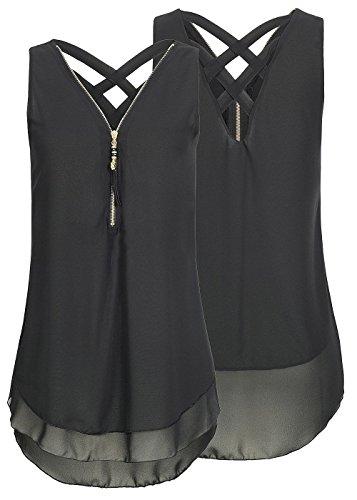 Damen Shirt Chiffon Bluse Langarmshirt mit Reißverschluss Vorne V-Ausschnitt Tops T-Shirt (M, Short-Schwarz) -