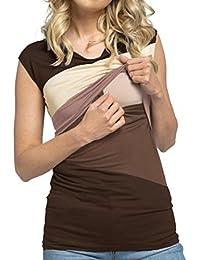 Amphia Ropa Embarazadas Vestido Camiseta de la Blusa de la Capa Doble del Bloque del Color
