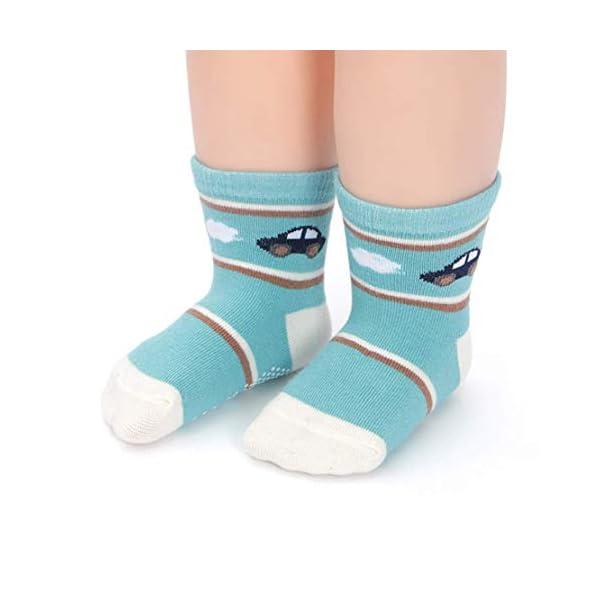 YANWANG 12 Pares de Calcetines de Algodón Antideslizantes Con Agarre para Bebés y Niños Pequeños 4