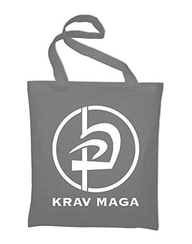 Krav Maga Logo Arti Marziali Borsa In Juta, Borsa, Borsa In Tessuto, Borsa In Cotone Grigio Chiaro
