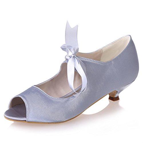 Scarpe da sposa in raso per donna gattino tacco crema scarpe blu scuro per tacco basso décolleté peep toe bridesmaid / 12p 0700-14, silver, 39