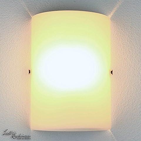 Schicke Wandleuchte in Weiß E14 bis 60 Watt 230V Wandlampe aus Glas für Wohnzimmer Schlafzimmer Flur Küche Lampe Leuchten