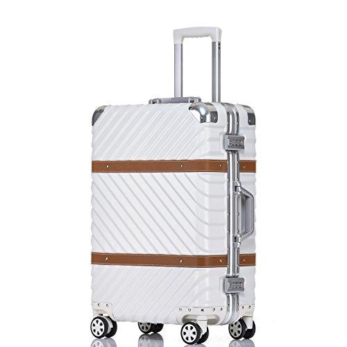 UNITRAVEL Valise Rigide Vintage 76 Centimètre 96 litres avec 4 Roues Blanc Serrure TSA