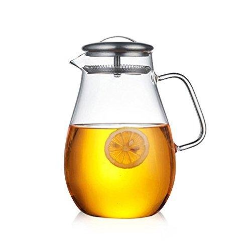 Glas Krug karaffe mit Deckel,1.9 L Eistee Krug Wasserkrug Heißes Kaltes Wasser,Eistee Wein Kaffee Milch und Saft Getränkekaraffe wasserkaraffe