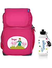 UniQBees Combo Pack - Personalised School Bag With Name (Class 3 To 6-Flower And Girl) & Personalised Water Bottle...